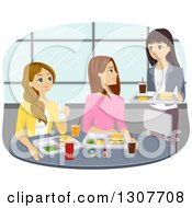 Clipart Of A Group Of Caucasian Teenage Girls Meeting For Lunch In A Cafeteria Royalty Free Vector Illustration by BNP Design Studio