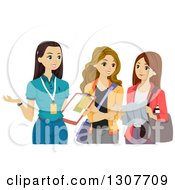 Caucasian Teen Female Volunteer Discussing Something With Friends