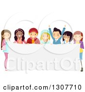 Clipart Of A Diverse Group Of Teenage Boys And Girls Holding A Blank Banner Royalty Free Vector Illustration by BNP Design Studio