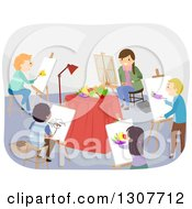 Clipart Of A Class Of High School Students Painting A Still Life Royalty Free Vector Illustration