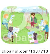 Clipart Of A Class Of High School Students Painting Landscapes In A Park Royalty Free Vector Illustration