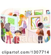 Clipart Of A Crowd Of Students In An Art Exhibit Gallery Royalty Free Vector Illustration