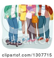 Clipart Of A Group Of Legs Of High School Students One Boy On A Skateboard Royalty Free Vector Illustration
