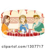 Clipart Of A Young Caucasian Man And Girl Eating At A Chinese Restaurant Royalty Free Vector Illustration