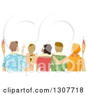 Clipart Of A Rear View Of Young Adults Wearing Hawaiian Leis And Holding Torches Royalty Free Vector Illustration
