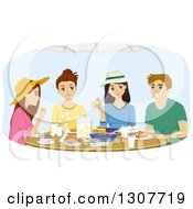 Clipart Of A Group Of Teenagers Eating A Meal Together Royalty Free Vector Illustration