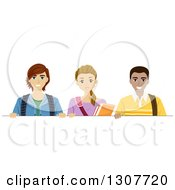 Clipart Of A Happy High School Teenage Girl And Two Young Men Over A Blank Sign Royalty Free Vector Illustration by BNP Design Studio