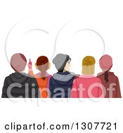 Clipart Of A Rear View Of Teenagers Watching Something And Wearing Winter Apparel Royalty Free Vector Illustration