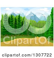 Clipart Of A Dirt Road Through A Forest With Mountains In The Distance Royalty Free Vector Illustration