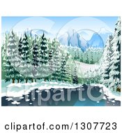 Clipart Of A River Through A Winter Forest With Mountains In The Distance Royalty Free Vector Illustration by BNP Design Studio