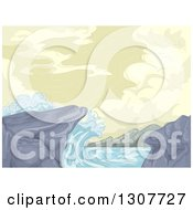 Clipart Of A Sketch Of Waves Crashing Into Rocks On The Shore Royalty Free Vector Illustration by BNP Design Studio