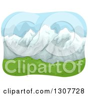 Clipart Of A Sketched Landscape With Snow Capped Mountains And A Green Valley Royalty Free Vector Illustration