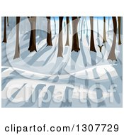 Clipart Of A Winter Forest With Sun And Shadows Royalty Free Vector Illustration