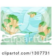 Clipart Of A Background Of Floating Islands With Greenery Over Mountains Royalty Free Vector Illustration