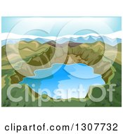 Clipart Of A Volcanic Crater Lake And Mountains Royalty Free Vector Illustration