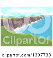 Clipart Of A Limestone Cliff And Ocean Bay Royalty Free Vector Illustration