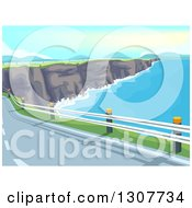 Clipart Of A Coastal Road Along A Limestone Cliff And Ocean Bay Royalty Free Vector Illustration