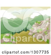 Clipart Of A Backdrop Of Scenic Mountains And Boulders With A Dirt Road Royalty Free Vector Illustration