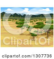 Clipart Of A Savannah Landscape With Acacia Trees And Mountains In The Distance Royalty Free Vector Illustration