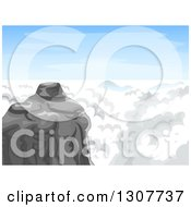 Clipart Of A Mountain Summit With Clouds And Blue Sky Royalty Free Vector Illustration