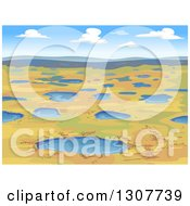 Clipart Of A Tundra Landscape With Puddles Of Water Royalty Free Vector Illustration