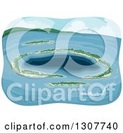 Clipart Of A Tropical Atoll Island In The Ocean Royalty Free Vector Illustration