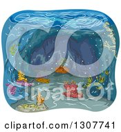 Clipart Of A Sketched Underwater Cave With Corals Royalty Free Vector Illustration