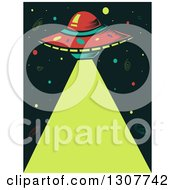 Clipart Of A Flying Saucer Shining A Laser Beam Royalty Free Vector Illustration