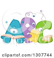 Clipart Of Abc Alphabet Aliens Reading Books Royalty Free Vector Illustration by BNP Design Studio