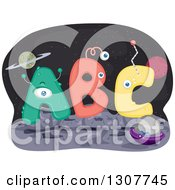 Clipart Of ABC Letter Aliens On A Foreign Planet Royalty Free Vector Illustration by BNP Design Studio