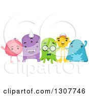Clipart Of A Group Of Happy Alien Friends Royalty Free Vector Illustration by BNP Design Studio