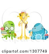 Clipart Of A Group Of Alien School Students Royalty Free Vector Illustration