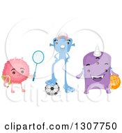Clipart Of A Group Of Alien Kids With A Tennis Racket Soccer Ball And Basketball Royalty Free Vector Illustration by BNP Design Studio