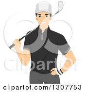 Clipart Of A Handsome Young Male Golfer Holding A Club Over His Shoulder Royalty Free Vector Illustration