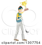 Clipart Of A Happy Brunette White Male Golfer Holding Up A Trophy Royalty Free Vector Illustration