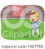 Clipart Of A Cartoon Blond White Man Golfing Indoors Royalty Free Vector Illustration