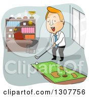 Cartoon Red Haired White Businessman Playing On A Mini Golf Course In His Office