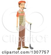 Clipart Of A Brunette White Male Golfer Smoking A Cigar Royalty Free Vector Illustration