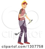 Clipart Of A Happy Blond White Male Golfer Royalty Free Vector Illustration