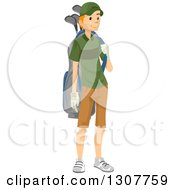 Clipart Of A Red Haired White Male Golf Caddy Carrying A Bag Royalty Free Vector Illustration