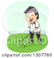 Clipart Of A Cartoon Happy Asian Man Golfing Royalty Free Vector Illustration