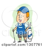 Clipart Of A Cartoon Friendly Golf Caddy By A Bag Royalty Free Vector Illustration