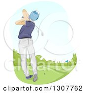 Clipart Of A Rear View Of A White Male Golfer Swinging Royalty Free Vector Illustration