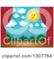 Clipart Of A Happy Summer Sun Stage Set With Red Curtains Royalty Free Vector Illustration by visekart