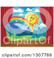 Clipart Of A Happy Sun Peeking Over A Rainbow Stage Set With Red Curtains Royalty Free Vector Illustration