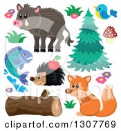 Clipart Of A Boar Bird Hedgehog Fish Squirrel And Plants Royalty Free Vector Illustration