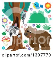 Clipart Of A  Bear Raccoon Peeking Out Through A Tree Hollow Woodpecker Blue Bird And Flowers Royalty Free Vector Illustration