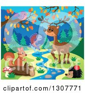 Clipart Of A Bird Deer Leaping Salmon Hedgehog And Squirrel At A Spring In Autumn Royalty Free Vector Illustration by visekart