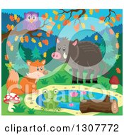 Happy Fox Frog Boar And Owl At A Pond On An Autumn Day
