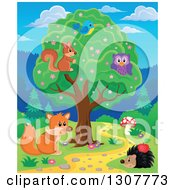 Squirrel Bird And Owl In A Tree Over A Fox And Hedgehog Along A Forest Path